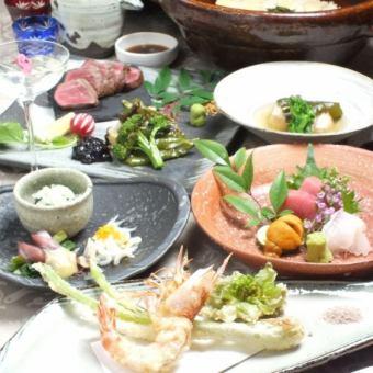 【日语套餐】A5 Kuroge和牛牛肉,淡水直季新鲜鱼类和蔬菜等/ 7件优惠券使用7500→6750日元(不含税)