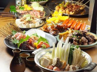 2500 yen sashimi & BBQ course
