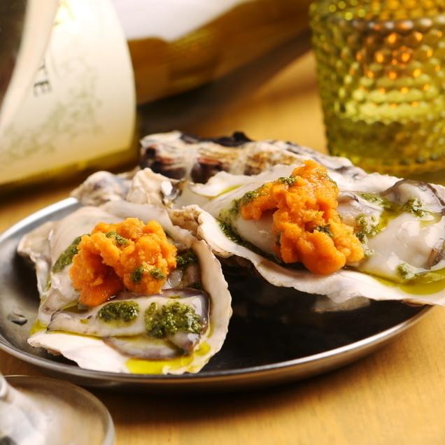 生牡蠣和生盎司橙子