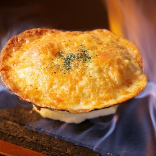 烤扇貝蓬鬆的奶酪