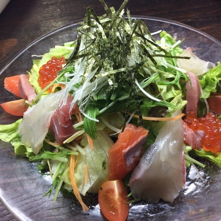 Today fresh fish sashimi salad