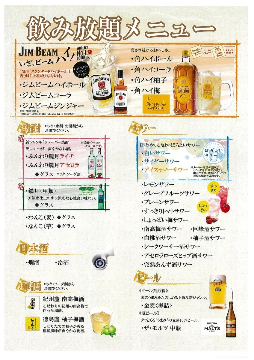 All you can drink menu ◎