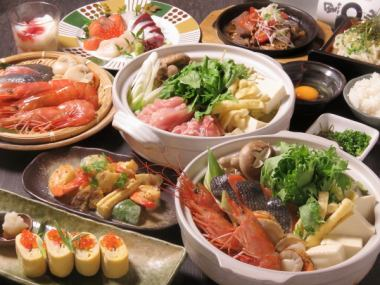 濑户内的味道,生鱼片有3种生鱼片海鲜和肉锅5000日元套餐2.5 H,所有你可以喝,1人免费1人或更多人