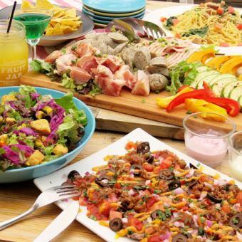 夏季限定【BBQコース】肉盛(豚肉・鶏・ソーセージ・野菜)・ナチョス等5品+2H飲放 3700円