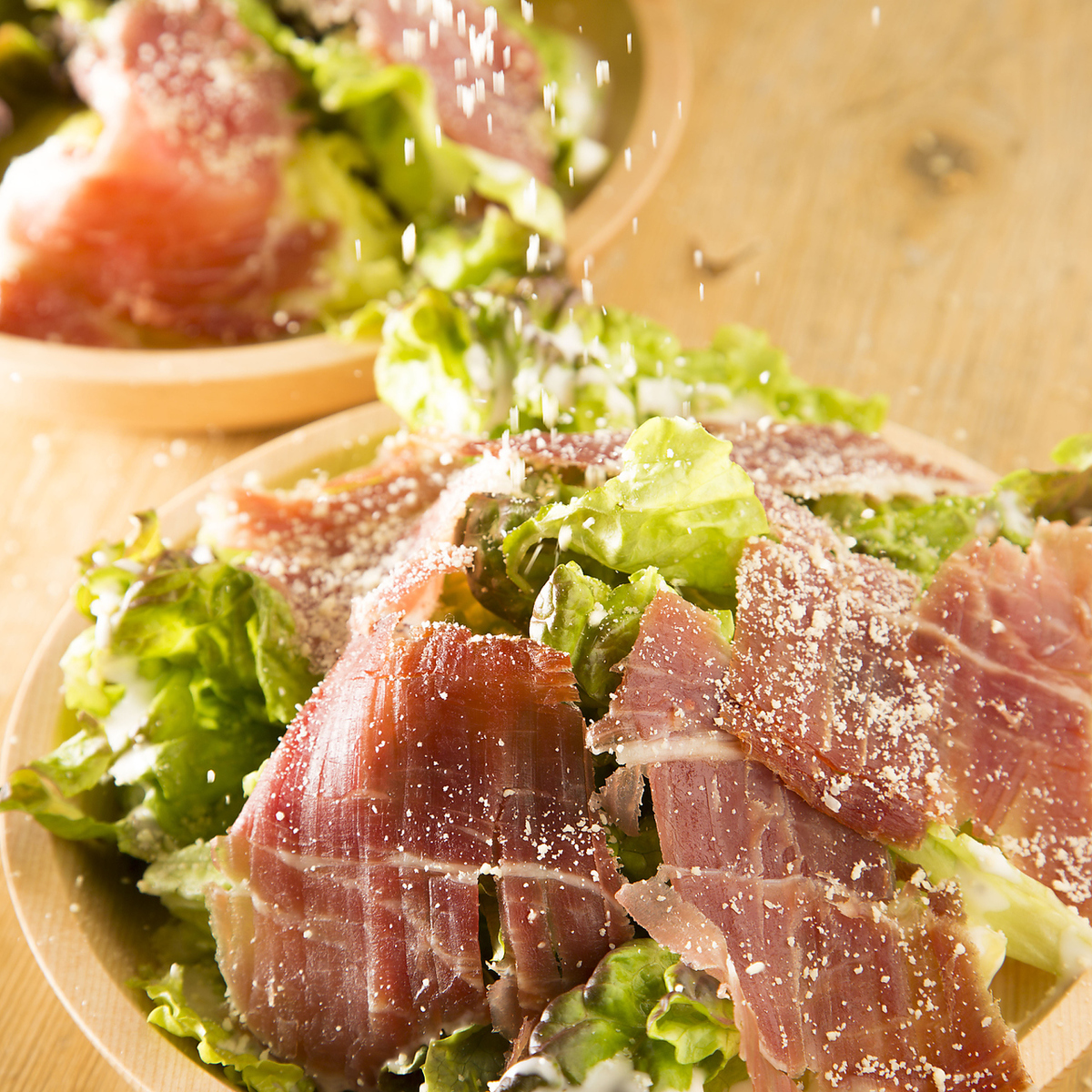Spanish hamon Serrano raw ham Caesar salad