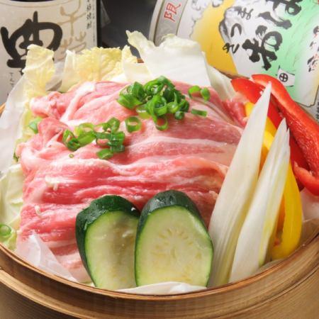 広島産紅葉豚とふろふき大根のせいろ蒸し