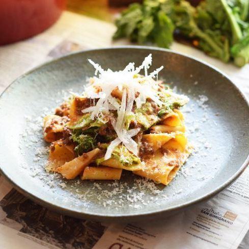 [パッパルデッレ]仔羊と大原産季節野菜のラグーソース