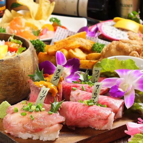 1月〜【社会学生·学生】国内和澳大利亚烤牛肉寿司套餐6种菜肴,包括熟食和所有你可以喝的