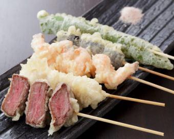 串天とは…串でさした食材を、サクサク衣で天ぷらにした新定番!!