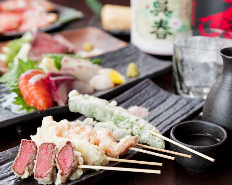『名物串天ぷら』『肉』『魚』『おでん』がメインのコースを多数ご用意★