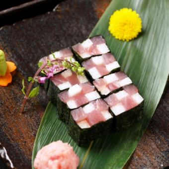 Tuna and yam with mosaic roll