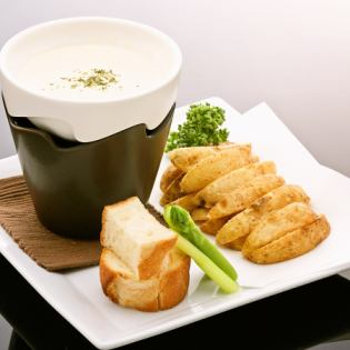 French fries cheese fondue