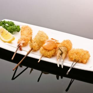 Assorted seafood skewers (5 varieties)