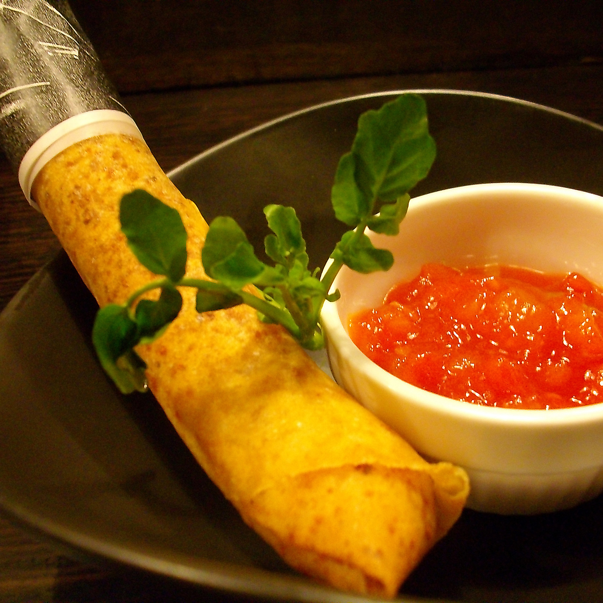 Deep-fried sausage spring roll