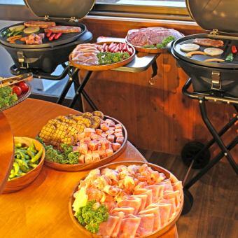 【お肉食べ放題BBQ×チーズフォンデュ】お肉食べ放題♪飲み放題付!平日は3h→4,000円