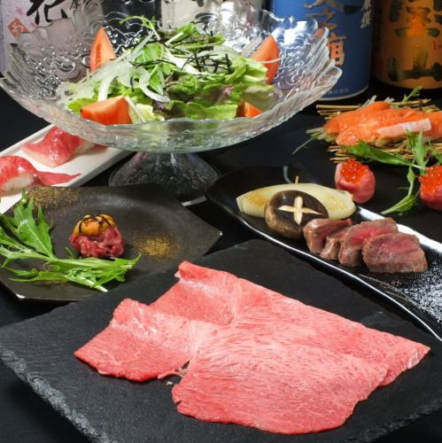 "【Luxury!】 Shaku-shabu & crab / Grilled handful of Kobe beef etc. ... etc ""Meat"" Matsu ""Pine"" course All 8 items 9000 yen (with drinking)"