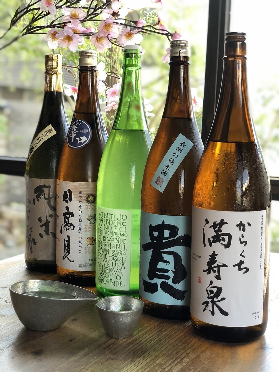 A selection of sake selected carefully from across the country