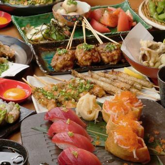 ≪鶏刺し&焼鳥&巻き串&握り寿司♪≫【竹もんコース】全10品+2時間[飲放]⇒3500円
