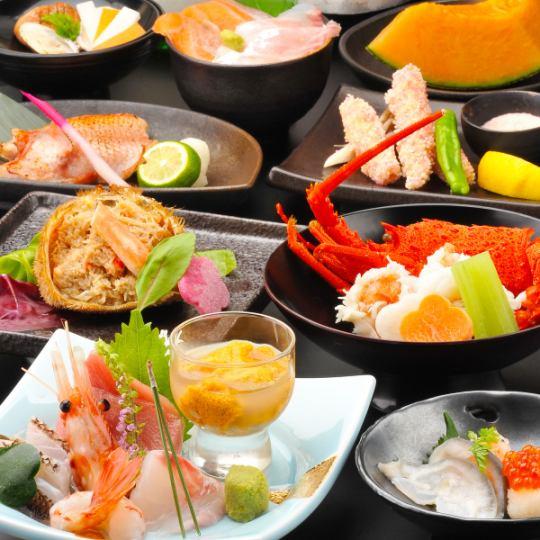 【お造り個別盛/祝膳プラン】鯛・牡丹海老・塩水雲丹個別刺身やキンキ焼き・金目鯛など料理10品