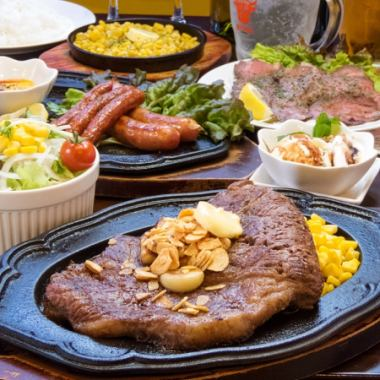 Volume ◎ 2 → 2.5 H All you can drink course 1 pound steak (453.6 g) / roast beef 7 items 5000 yen