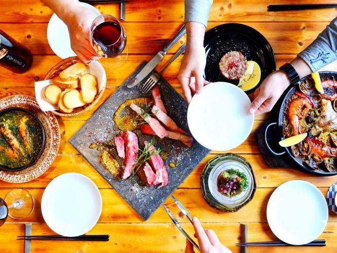 ◆カルパッチョ◆アヒージョ◆二種ステーキ◆パスタ◆甘味 2H飲放付 4000円