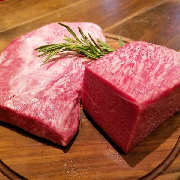 鳥取県産田村牛の熾火焼き、本日の赤身と霜降り希少部位の盛り合わせ