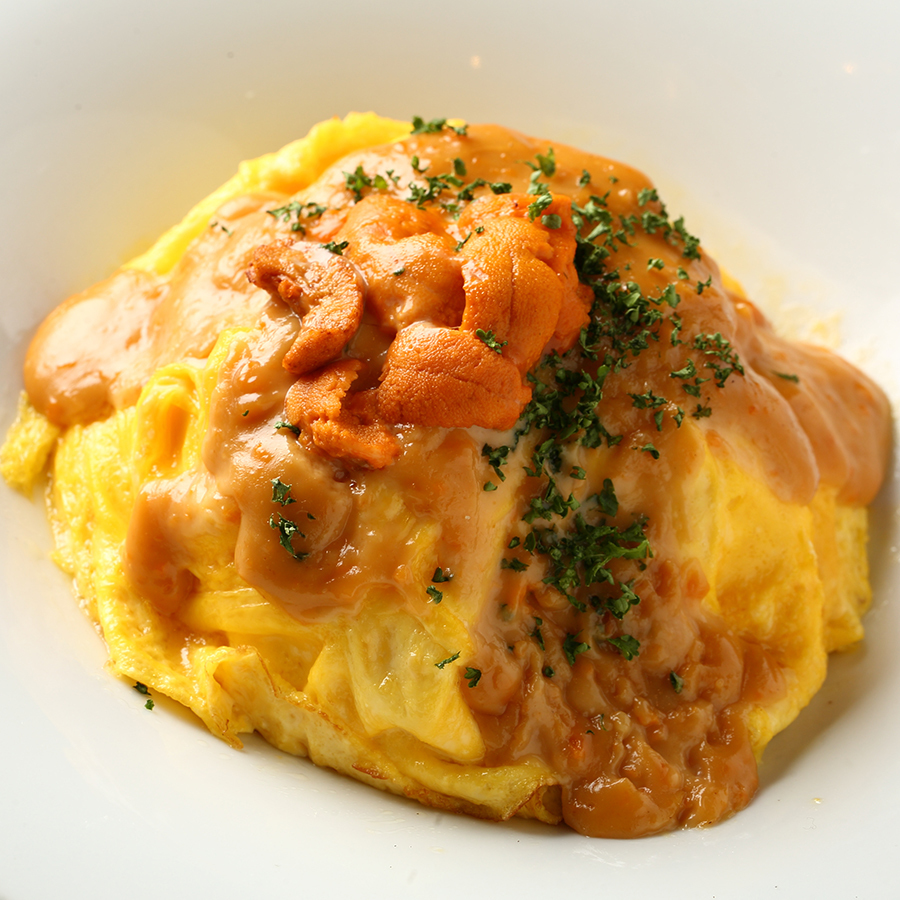 Ume and cheese omelet rice
