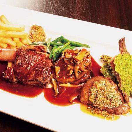 お肉の盛り合わせ クッチーナスタイル(ソーセージ、牛サーロイン、本日の肉料理、ちゅらぶた、仔羊)