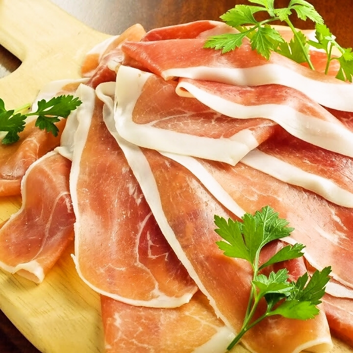 Raw ham and salami