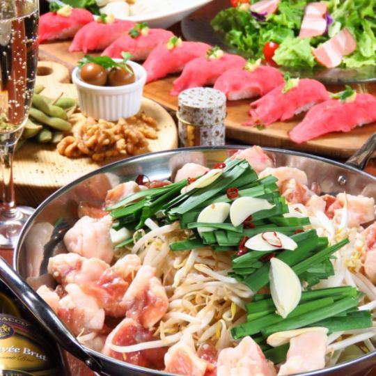 超罕見♪使用白米和牛♪火鍋套餐★包括免費飲料120分鐘【3500日元】