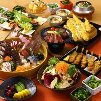 4月充実の飲み放題3時間!「柚柚コース」〈料理10品〉お造り4種、牛ステーキ、春野菜の天ぷら