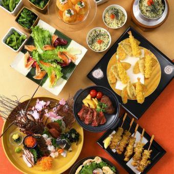 5月充実の飲み放題3時間!「柚柚コース」〈料理10品〉お造り4種、牛ステーキ、春野菜の天ぷら