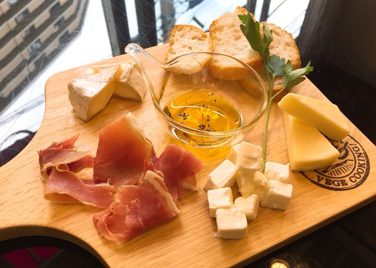 Assortment of raw ham and cheese