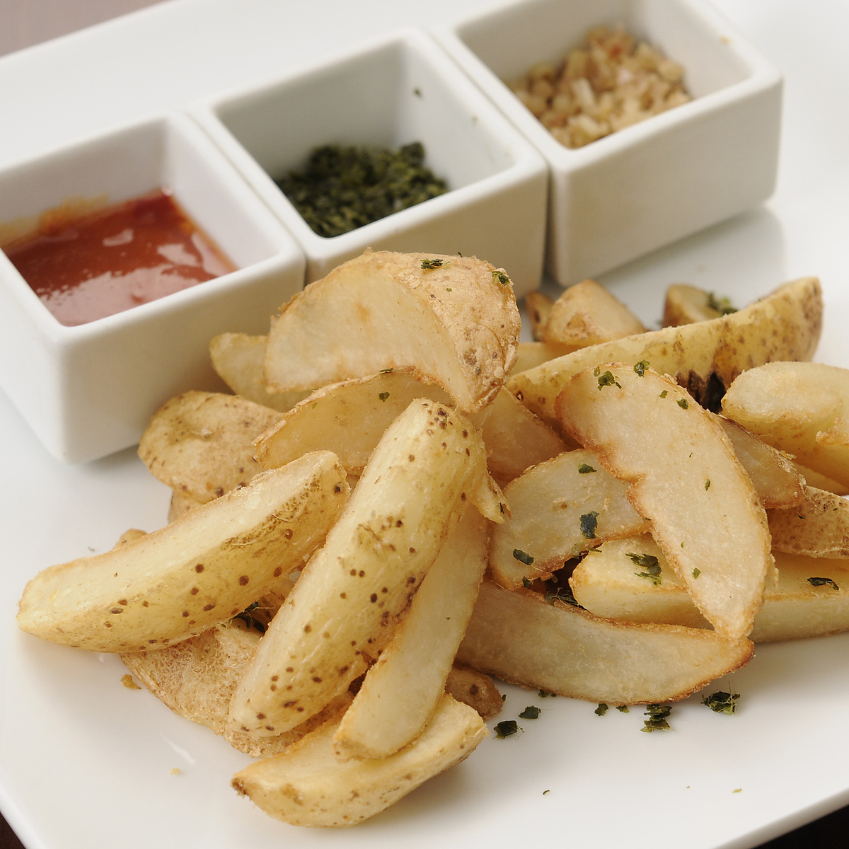 French fries with herbal salt
