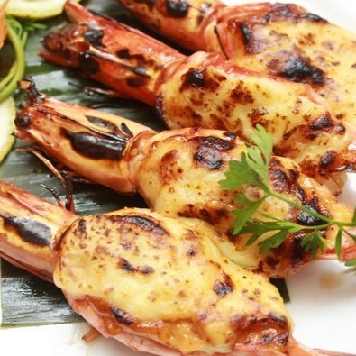 Grilled big on shrimp with Mayo cheese cheese
