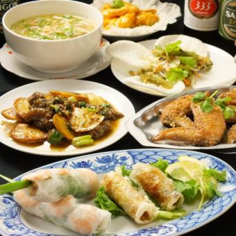 "2H with all you can drink 【Easy ♪ Vietnamese cuisine】】 9 items ◆ ""Vietnamese course"" 4000 yen"