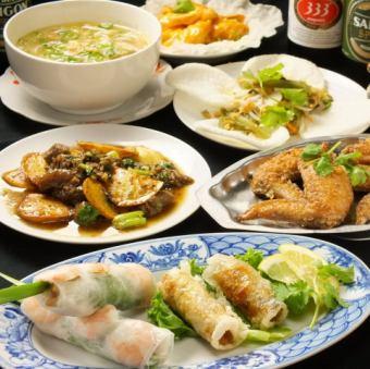 """2H 음료 뷔페 포함 [베트남 요리를 간편하게 ♪] 총 9 종 ◆ """"베트남 코스 '4000 엔"""