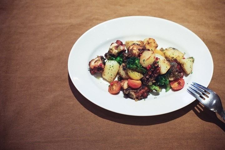 Octopus and potato herb butter saute