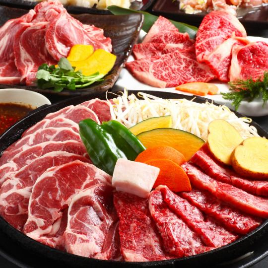 【Kochi Kuroge Wagyu beef, seafood baked, raw rum etc All four kinds Genghis Khan 100 minutes Eat All-you-can-eat plan】 With raw sushi
