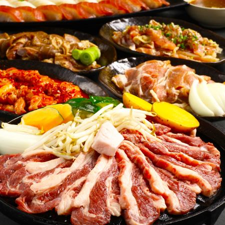 【All-you-can-eat Drink All-you-can-eat 100 kinds of Genghis Khan, including all 5 kinds of raw lamb · flavored lamb · mutton · pork · chicken]