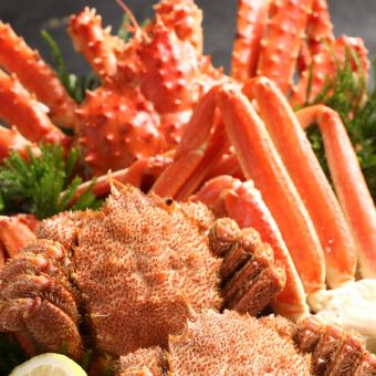 Assorted three large crabs + all-you-can-eat 【Wagyu beef · raw ram Genghis Khan 100 min eating all-you-can-eat plan】 6800 yen