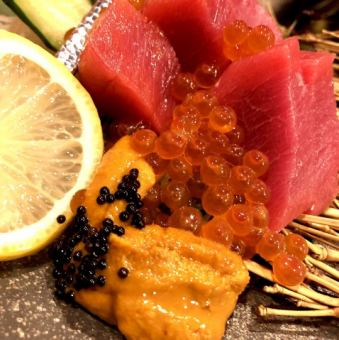 Assortment of 3 luxury items-this tuna, sea urchin, how much