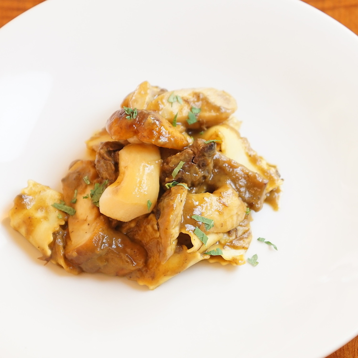 Japanese beef shank ragout and porcini mushroom sauce Pappardelle made from Mie prefecture laying eggs