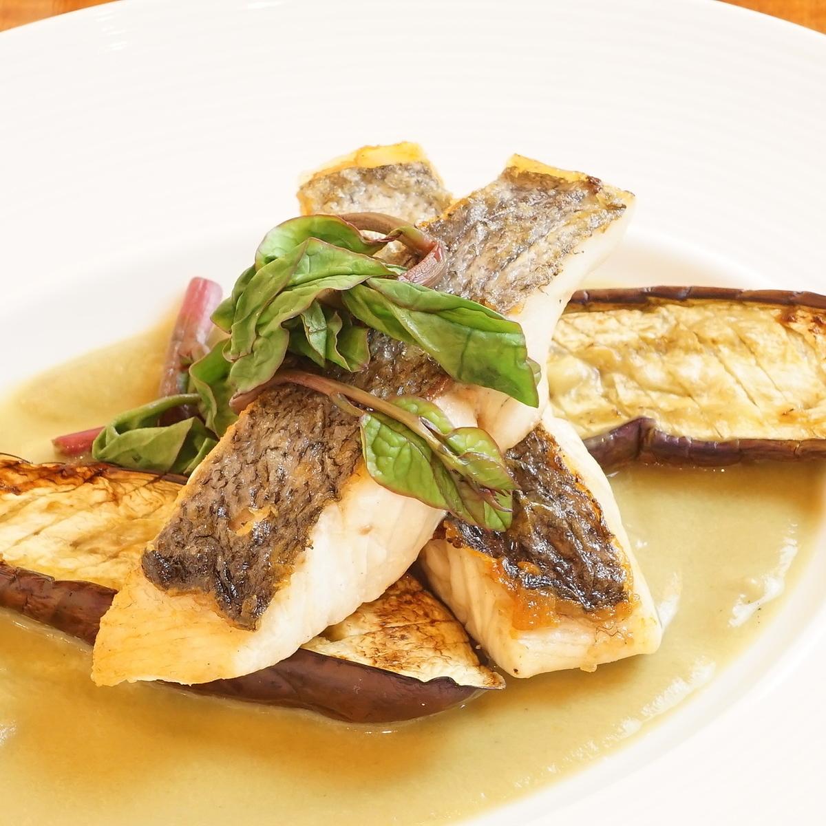 本日のお魚と長茄子のインパデッラ 秋茄子のソースと共に