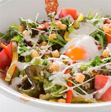 Warm ball Caesar salad