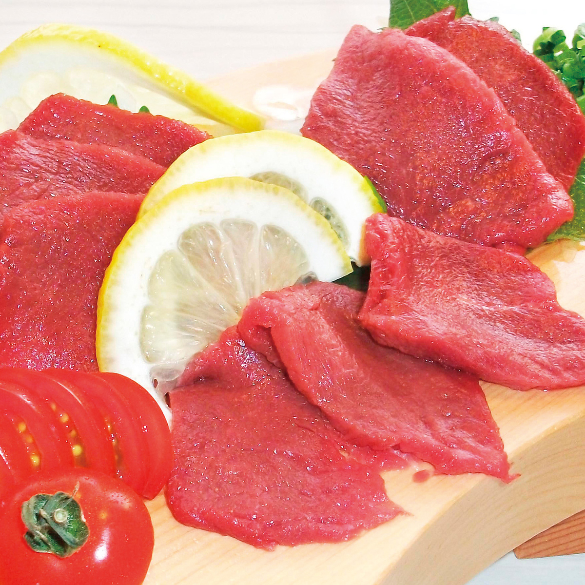 Selected horse meat sashimi (fins)