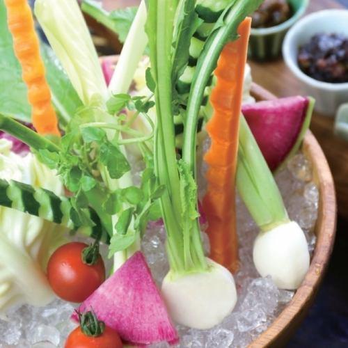 農家さんの愛情 おけ盛り生野菜 【4種のこだわり味噌で】