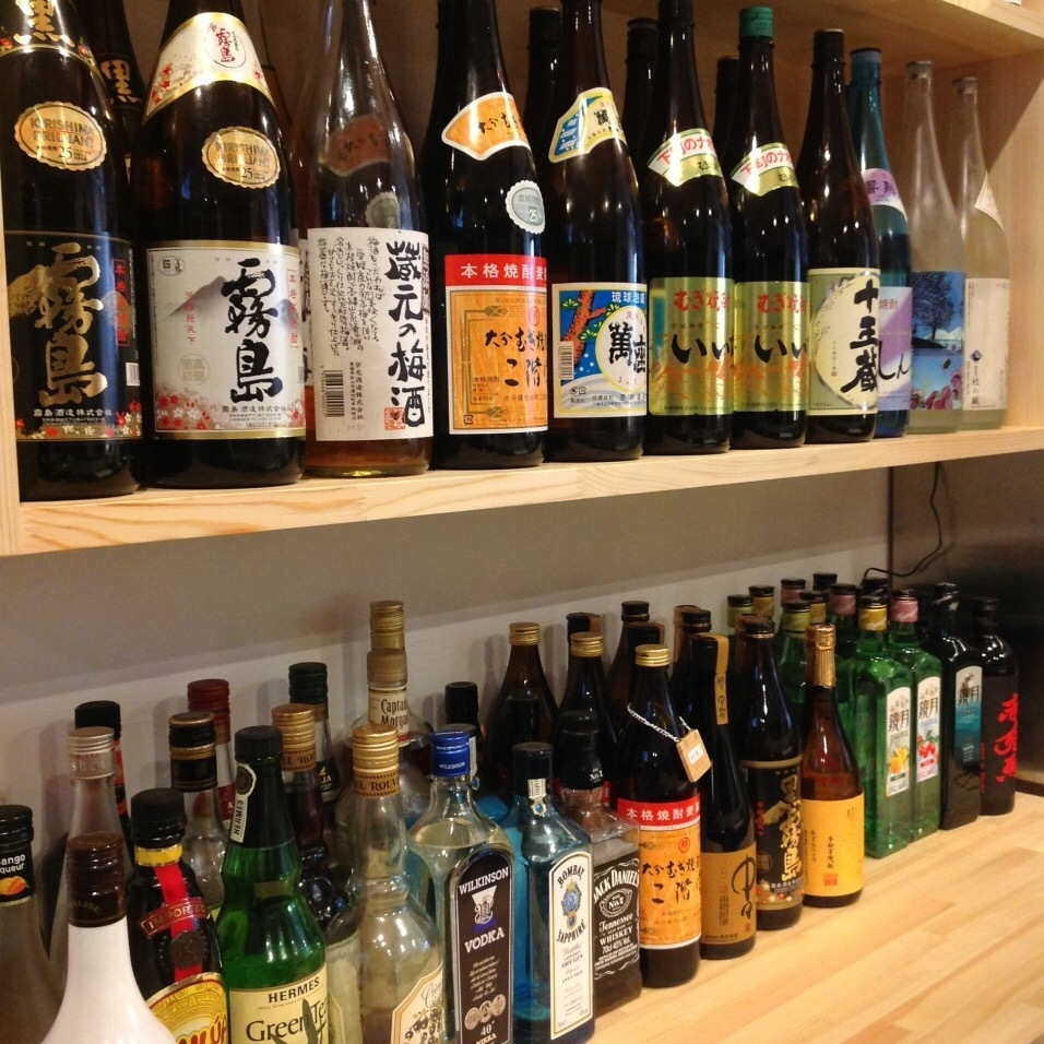 Sake liquor in line with the counter