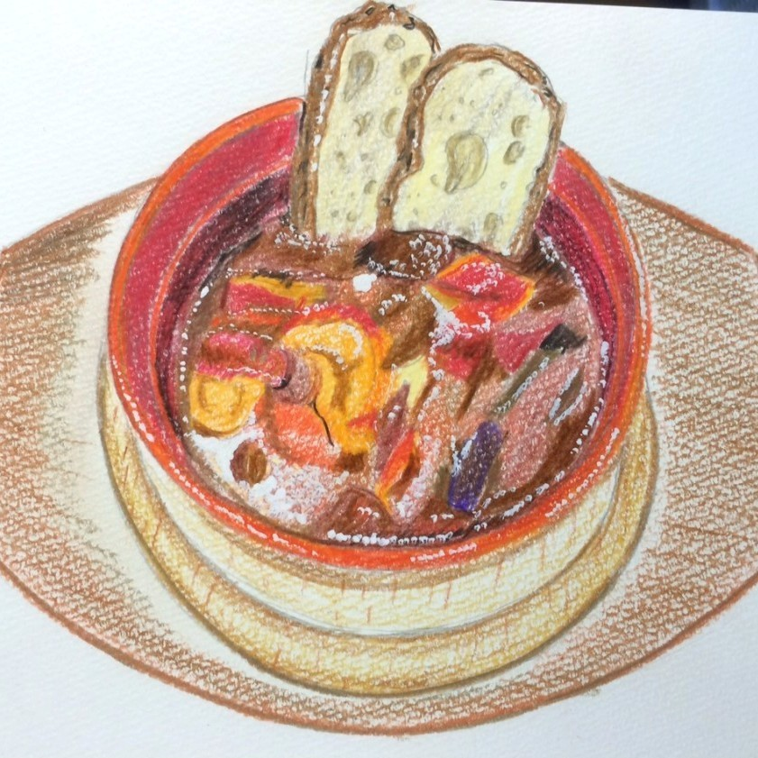 Beef stew of beef with beef (with baguette)