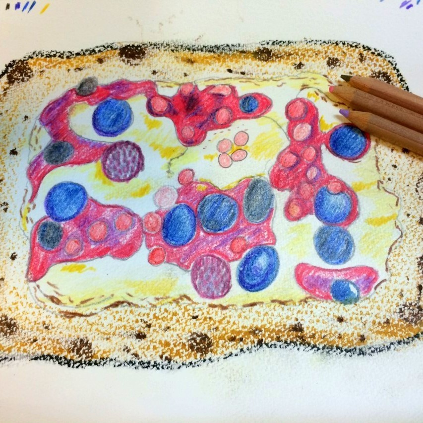 Berry custard pizza